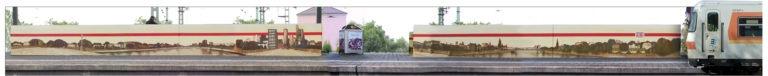 Graffitikuenstler, Graffitiauftrag, Artmos4, DeutscheBahn, Polaroid, Skyline, Illustrativ