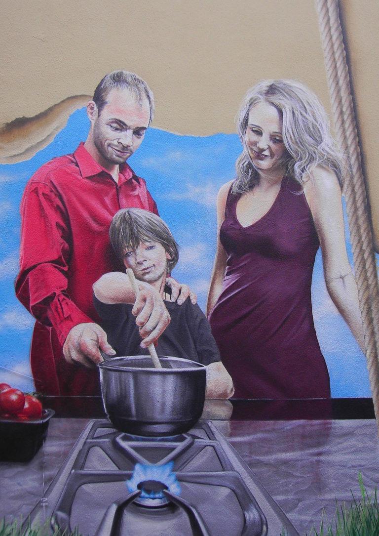 Graffitikuenstler, Graffitiauftrag, Artmos4, Mainova, Familie, fotorealistisch