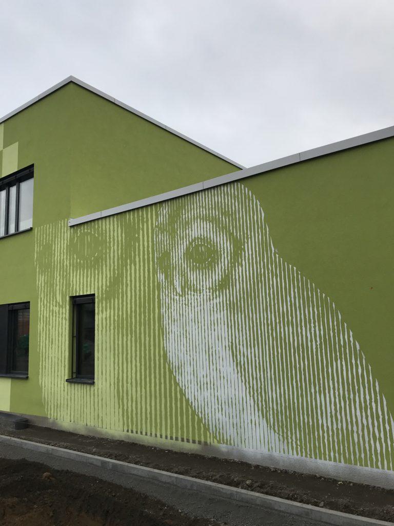 Graffitikuenstler, Graffitiauftrag, Artmos4, AlbrechtDuererSchule, Eule, Rasterbild