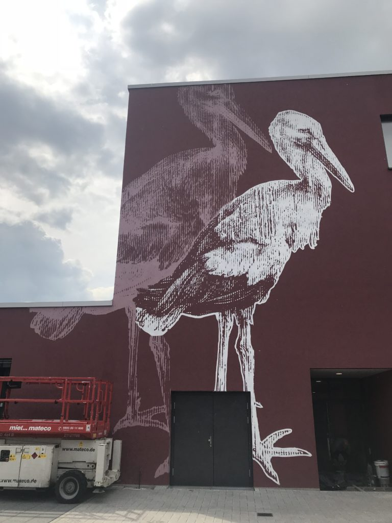 Graffitikuenstler, Graffitiauftrag, Artmos4, AlbrechtDuererSchule, Kranich, Rasterbild