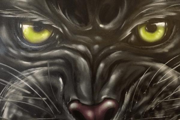 artmos4, graffitiauftrag, graffitikuenstler, tiger, fotorealistisch, schwarz, grün, weiß