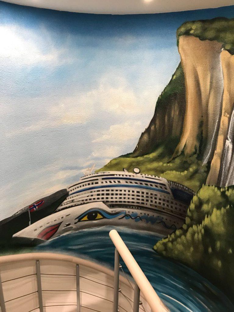Graffitikuenstler, Graffitiauftrag, Artmos4, Aida, Landschaft, Schiff, Fotorealistisch