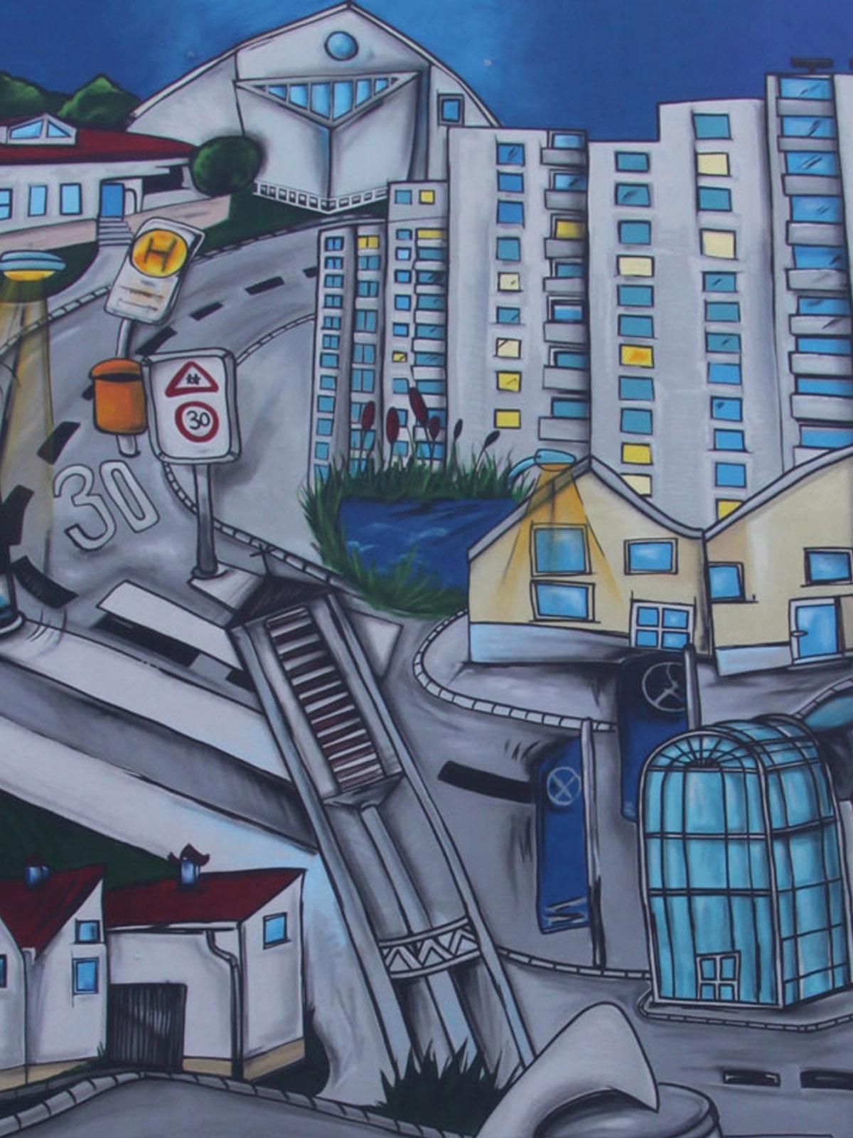 graffitiauftrag_graffitikuenstler_artmos4_baugenossenschaft_odenwaldring_stadt_illustrativ