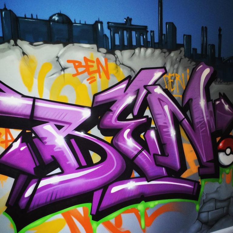 Graffitikuenstler, Graffitiauftrag, Artmos4, Schrift, Bunt, Comic