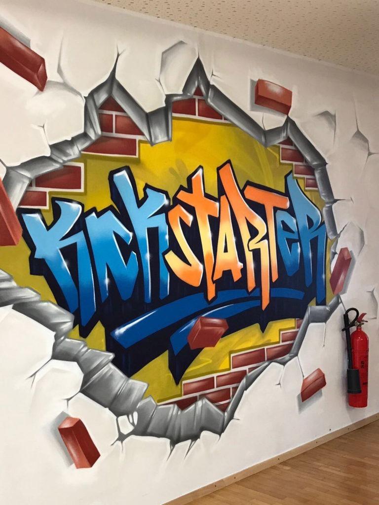Graffitikuenstler, Graffitiauftrag, Artmos4, Bosch, Schrift, Bunt, Comic