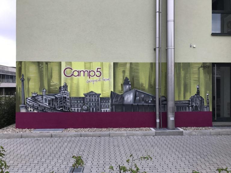 Graffitikuenstler, Graffitiauftrag, Artmos4, Camp5, Landschaft, Skyline, illustrativ