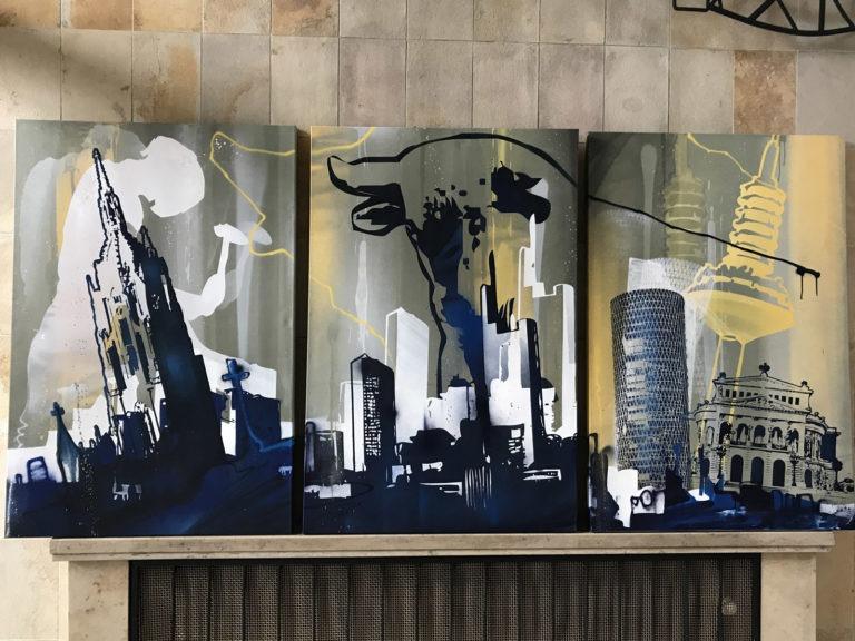Graffitikuenstler, Graffitiauftrag, Artmos4, Frankfurt, Skyline, illustrativ, Silhouette