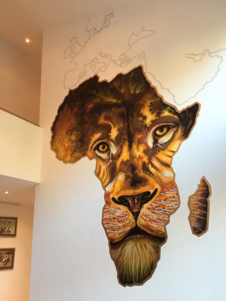 Graffitikuenstler, Graffitiauftrag, Artmos4, Landschaft, Afriak, Tier, illustrativ