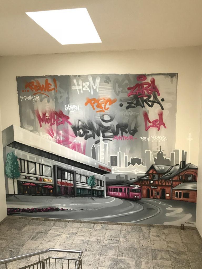 Graffitikuenstler, Graffitiauftrag, Artmos4, ECEProjektmanagment, NeuIsenburg, Tags, Skyline, illustrativ