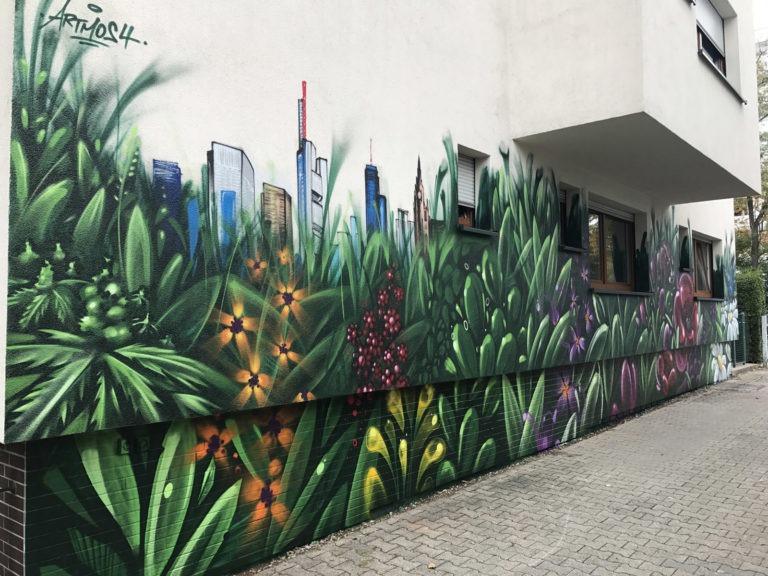 Graffitikuenstler, Graffitiauftrag, Artmos4, FDKLiegenschaftsverwaltung, Pflanzen, Bunt, Landschaft, illustrativ