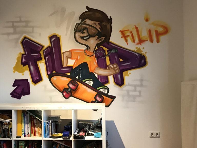 Graffitikuenstler, Graffitiauftrag, Artmos4, Schrift, Comic, Bunt