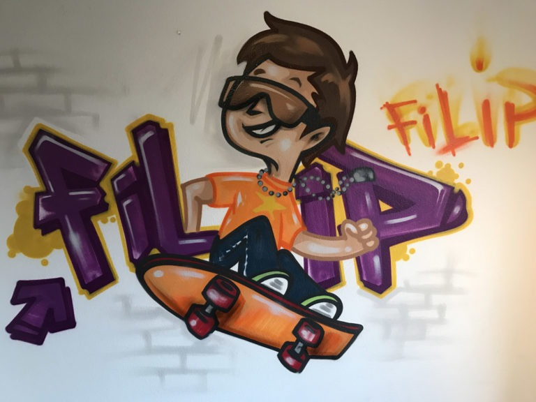 Graffitikuenstler, Graffitiauftrag, Artmos4, Schrift, Person, Comic, Bunt