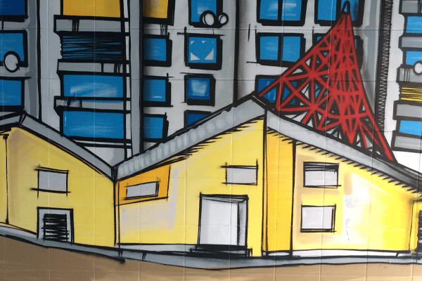 graffitiauftrag-graffitikuenstler-artmos4-gbo_2014_landschaft_straße_haus_schrift_grün_grau_rot_bunt_comic_aussen_offenbach-waldhof