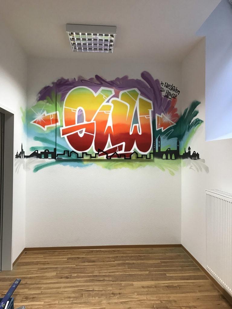 Graffitikuenstler, Graffitiauftrag, Artmos4, GWW, leinwand, Skyline, Bunt