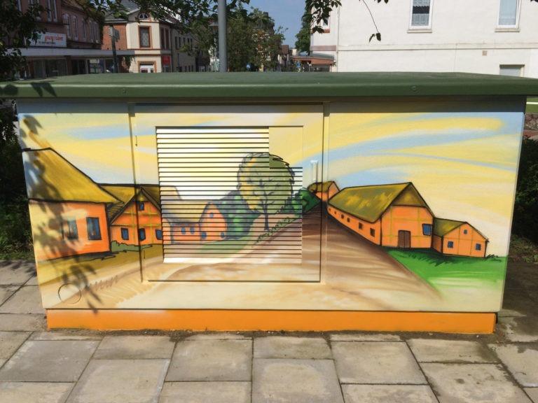 Graffitikuenstler, Graffitiauftrag, Artmos4, Hansewerke, Landschaft, Comic