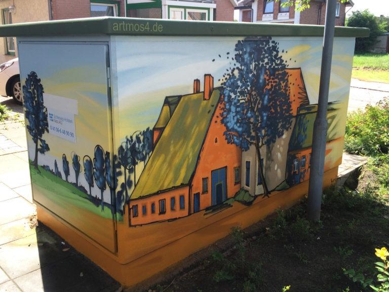 Graffitikuenstler, Graffitiauftrag, Artmos4, Hansewerke, Landschaft, Gebaeude, Comic