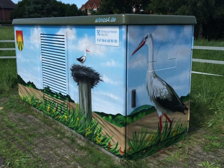 Graffitikuenstler, Graffitiauftrag, Artmos4, Hansewerke, Storch, Lanschaft, Fotorealistisch