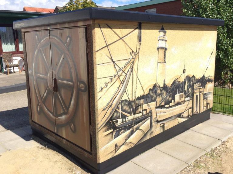 Graffitikuenstler, Graffitiauftrag, Artmos4, Hansewerke, Hafen, Landschaft, Fotorealistisch