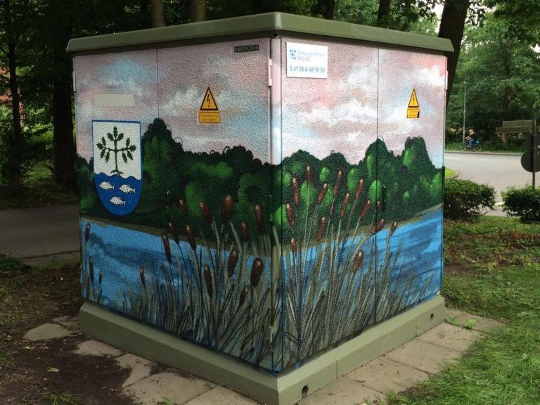 Graffitikuenstler, Graffitiauftrag, Artmos4, Hansewerke, Landschaft, Fotorealistisch