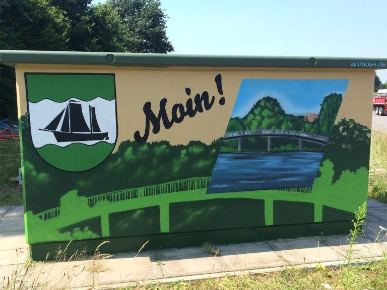 Graffitikuenstler, Graffitiauftrag, Artmos4, Hansewerke, Landschaft, illustrativ