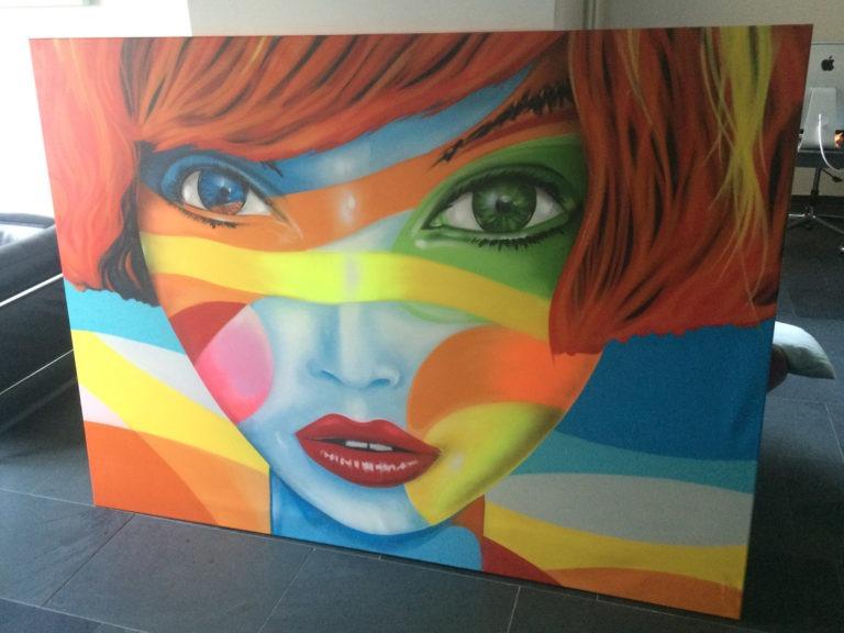 Graffitikuenstler, Graffitiauftrag, Artmos4, JuliusMeindlKaffee, Bunt, Gesicht