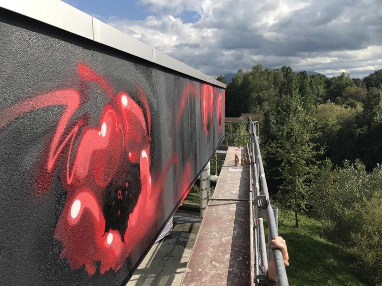 Graffitikuenstler, Graffitiauftrag, Artmos4, Mohnblume, Pflanze, illustrativ