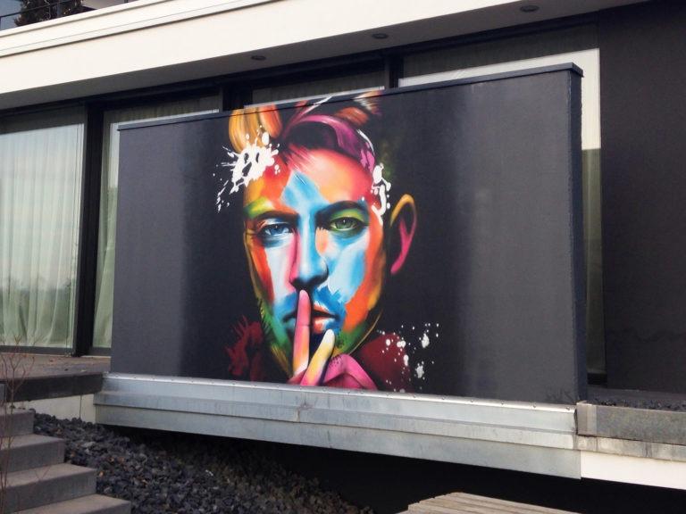 Graffitikuenstler, Graffitiauftrag, Artmos4, DavidBowie, Fotorealistisch