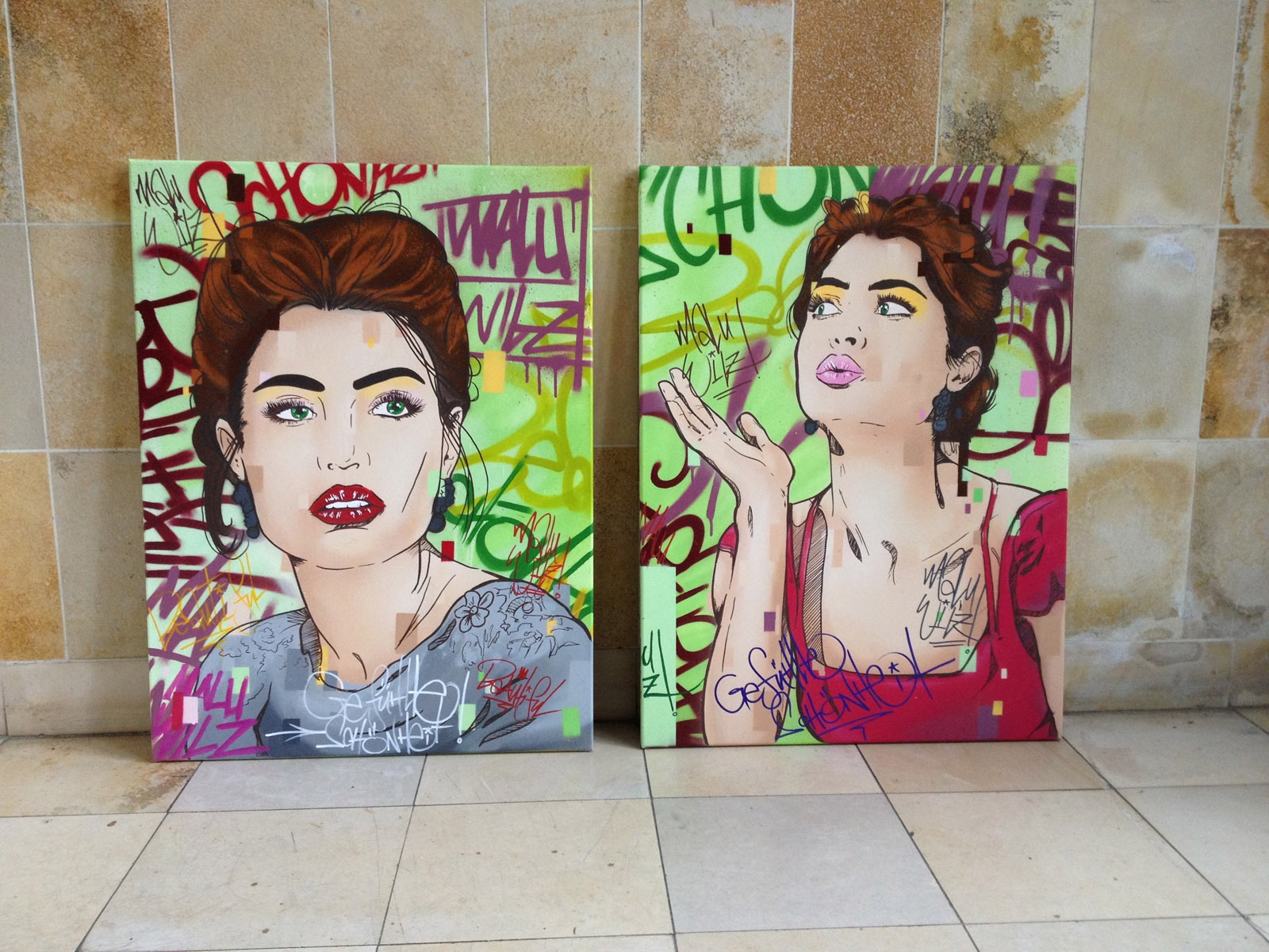 graffitiauftrag-graffitikuenstler-artmos4-malu-wilz-2015-leinwand-pixel-tag-graffiti-hintergrund-menschen-frau-pflanzen-schmuck-illustrativ