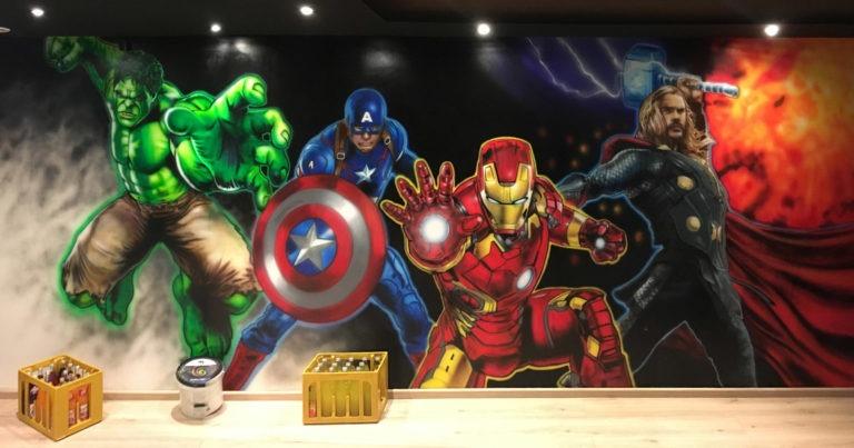 Graffitikuenstler, Graffitiauftrag, Artmos4, Marvel, Superhelden, Fotorealistisch