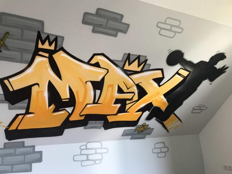 Graffitikuenstler, Graffitiauftrag, Artmos4, Kinder, Mauer, Schrift, Silhouette
