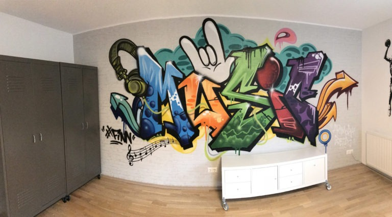 Graffitikuenstler, Graffitiauftrag, Artmos4, Kinder, Schrift, Comic, Style