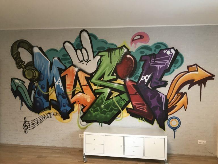 Graffitikuenstler, Graffitiauftrag, Artmos4, Music, Schriftzug, Graffiti, Comic
