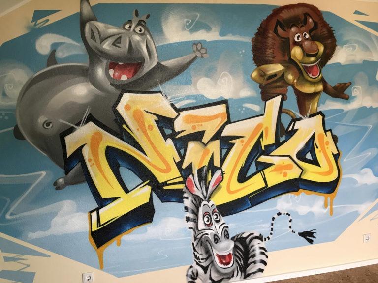 Graffitikuenstler, Graffitiauftrag, Artmos4, Madagascar, Comic, Schrift