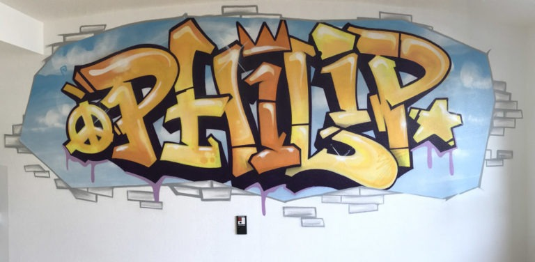 Graffitikuenstler, Graffitiauftrag, Artmos4, Schrift, illustrativ, Kinder