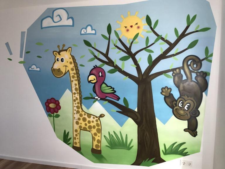 Graffitikuenstler, Graffitiauftrag, Artmos4, Kinder, Landschaft, Tiere, Comic