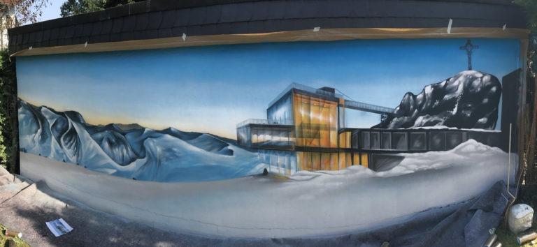 Graffitikuenstler, Graffitiauftrag, Artmos4, Landschaft, Fotorealistisch, Berge