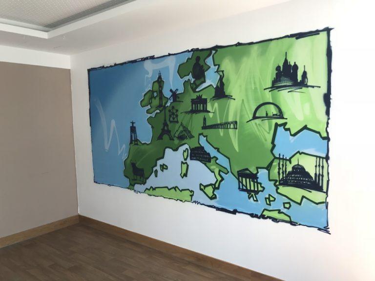 Graffitikuenstler, Graffitiauftrag, Artmos4, RummelsbergerDiakonie, Karte, Flagge, Sehenswürdigkeiten, Silhouette, illustrativ