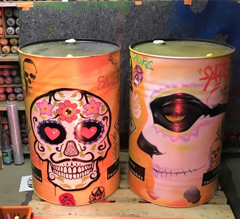 Graffitikuenstler, Graffitiauftrag, Artmos4, Salitos, Totenkopf, illustrativ