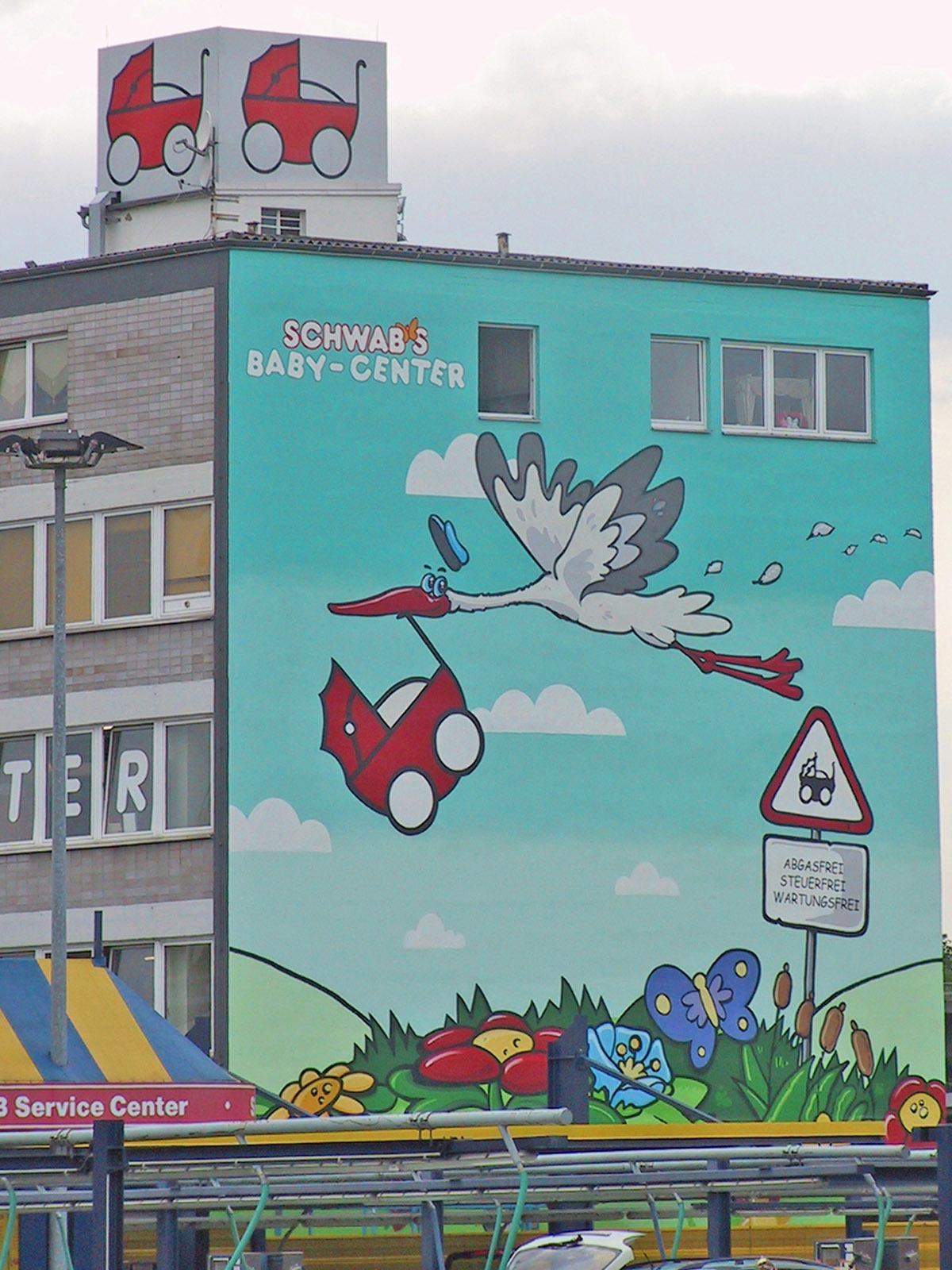 graffitiauftrag-graffitikuenstler-artmos4-schwabs-babycenter-comic-tiere-pflanzen