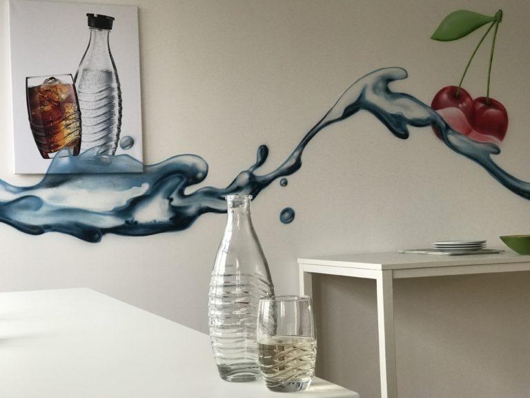 Graffitikuenstler, Graffitiauftrag, Artmos4, Sodastream, Wasser, Obst, Fotorealistisch