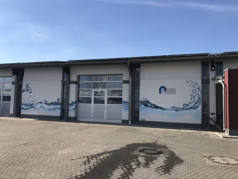 Graffitikuenstler, Graffitiauftrag, Artmos4, StadtwerkeFloersheim, Wasser, Logo, Fotorealistisch