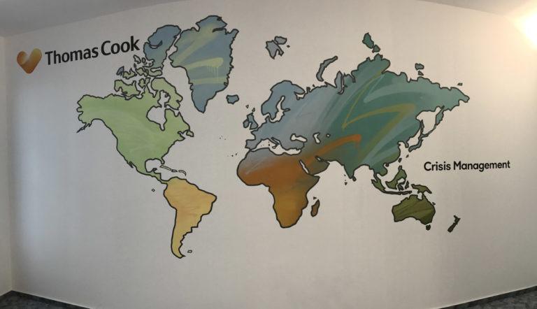 Graffitikuenstler, Graffitiauftrag, Artmos4, ThomasCook, Weltkarte, Logo, Bunt