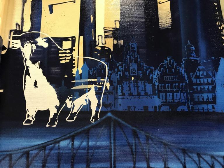 Graffitikuenstler, Graffitiauftrag, Artmos4, UnfalkasseHessen, Landschaft, Skyline, Logo, Grafisch, illustrativ