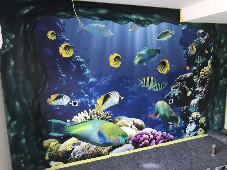 Graffitikuenstler, Graffitiauftrag, Artmos4, Fische, Pflanzen, Meer, Fotorealistisch