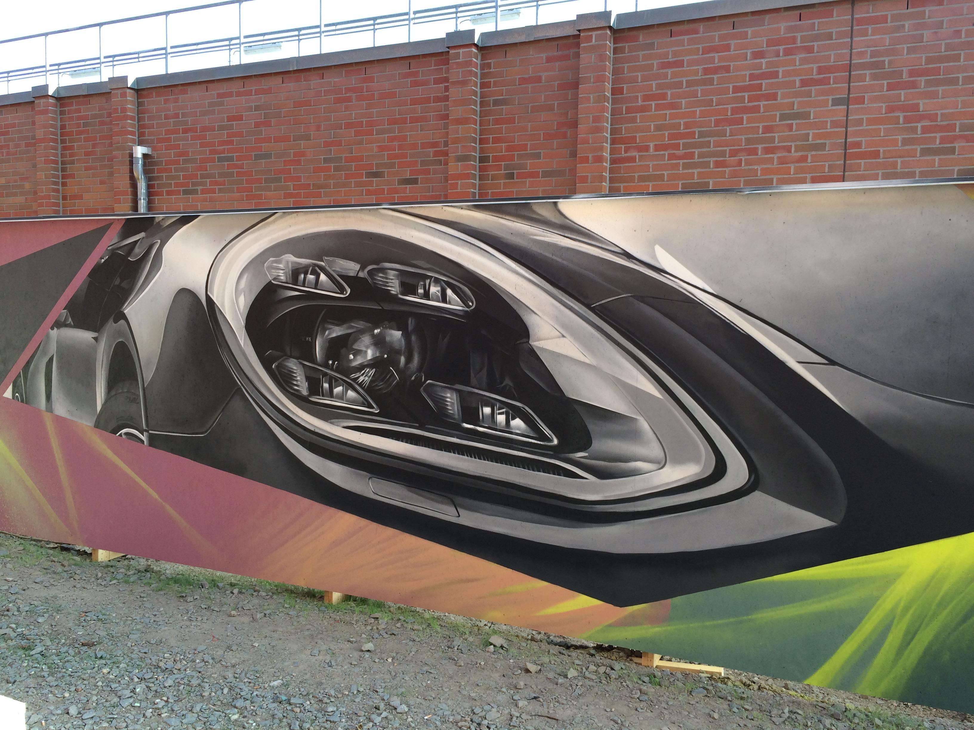 Graffitikuenstler, Graffitiauftrag, Artmos4, Porsche, Leipzig, Graffiti, Fotorealistisch