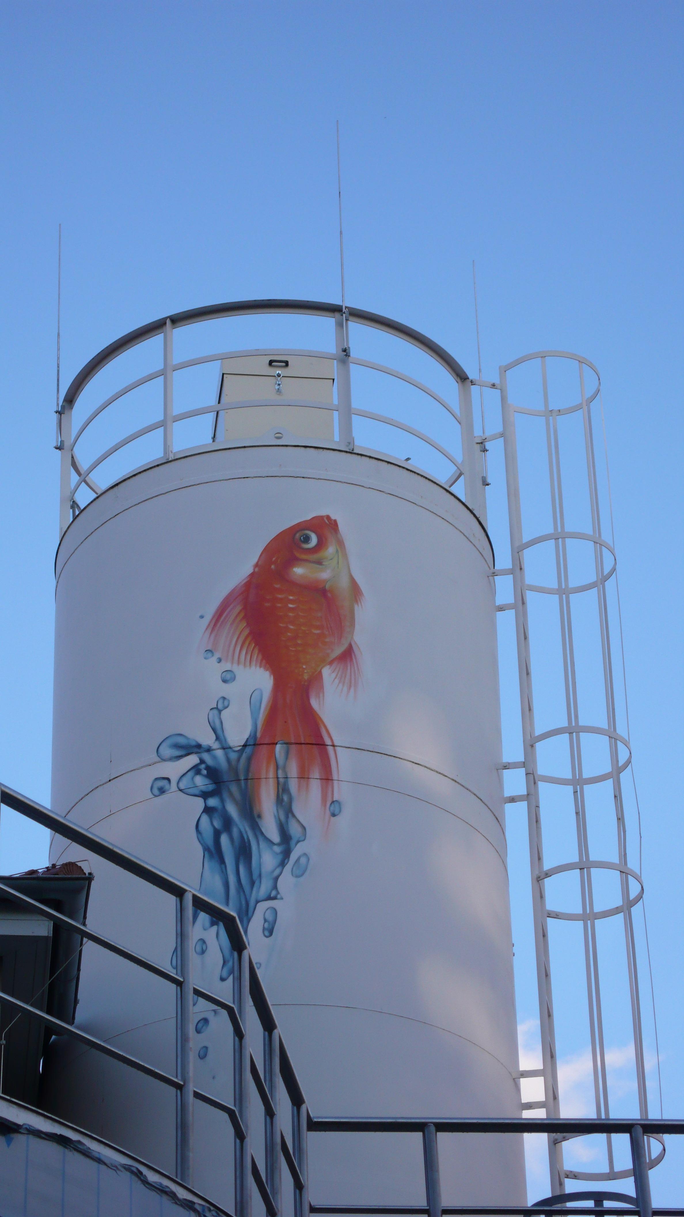 Graffitikuenstler, Graffitiauftrag, Artmos4, Floersheim, Abwasserverband, Fotorealistisch, Fisch